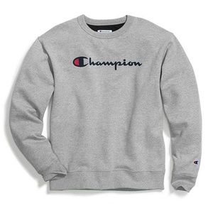 NWT Oxford Grey LARGE Champion Crew, Script Logo